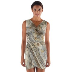 Background Structure Abstract Grain Marble Texture Wrap Front Bodycon Dress