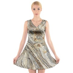 Background Structure Abstract Grain Marble Texture V Neck Sleeveless Skater Dress