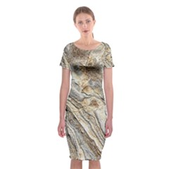 Background Structure Abstract Grain Marble Texture Classic Short Sleeve Midi Dress