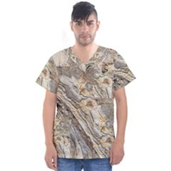 Background Structure Abstract Grain Marble Texture Men s V Neck Scrub Top
