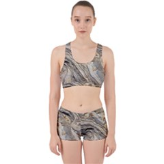Background Structure Abstract Grain Marble Texture Work It Out Sports Bra Set