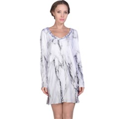 Marble Granite Pattern And Texture Long Sleeve Nightdress