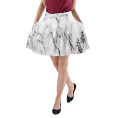 Marble Granite Pattern And Texture A Line Pocket Skirt