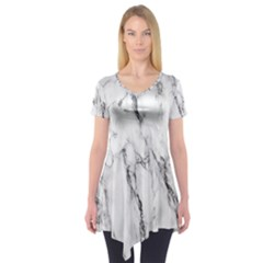 Marble Granite Pattern And Texture Short Sleeve Tunic