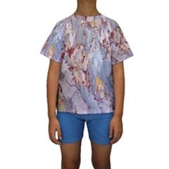Marble Pattern Kids  Short Sleeve Swimwear