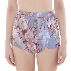 Marble Pattern High Waisted Bikini Bottoms