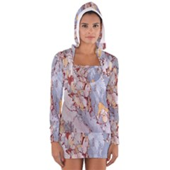 Marble Pattern Long Sleeve Hooded T Shirt