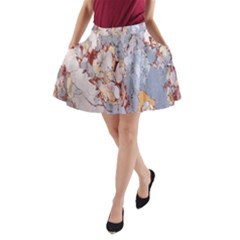 Marble Pattern A Line Pocket Skirt
