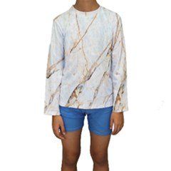 Marble Texture White Pattern Surface Effect Kids  Long Sleeve Swimwear