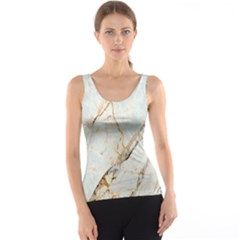 Marble Texture White Pattern Surface Effect Tank Top