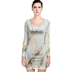 Marble Texture White Pattern Surface Effect Long Sleeve Bodycon Dress