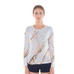 Marble Texture White Pattern Surface Effect Women s Long Sleeve Tee