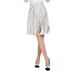 Marble Texture White Pattern Surface Effect A Line Skirt