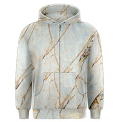 Marble Texture White Pattern Surface Effect Men s Zipper Hoodie