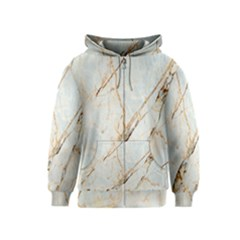 Marble Texture White Pattern Surface Effect Kids  Zipper Hoodie