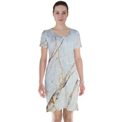Marble Texture White Pattern Surface Effect Short Sleeve Nightdress
