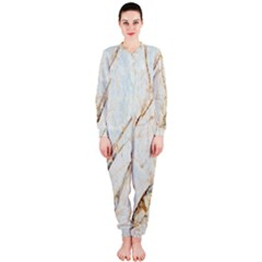 Marble Texture White Pattern Surface Effect Onepiece Jumpsuit (ladies)
