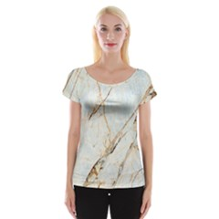 Marble Texture White Pattern Surface Effect Cap Sleeve Tops