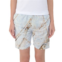 Marble Texture White Pattern Surface Effect Women s Basketball Shorts