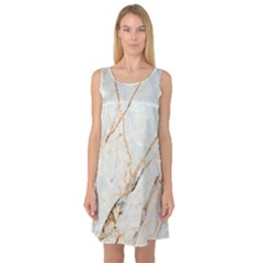 Marble Texture White Pattern Surface Effect Sleeveless Satin Nightdress