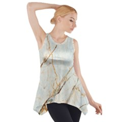 Marble Texture White Pattern Surface Effect Side Drop Tank Tunic