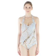 Marble Texture White Pattern Surface Effect Halter Swimsuit