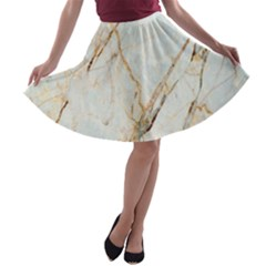 Marble Texture White Pattern Surface Effect A Line Skater Skirt
