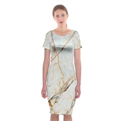 Marble Texture White Pattern Surface Effect Classic Short Sleeve Midi Dress