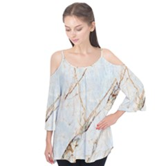 Marble Texture White Pattern Surface Effect Flutter Tees