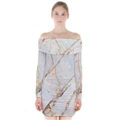 Marble Texture White Pattern Surface Effect Long Sleeve Off Shoulder Dress