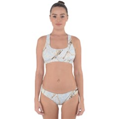 Marble Texture White Pattern Surface Effect Cross Back Hipster Bikini Set