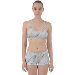 Marble Texture White Pattern Surface Effect Women s Sports Set