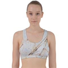 Marble Texture White Pattern Surface Effect Back Weave Sports Bra