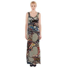 Marbling Maxi Thigh Split Dress
