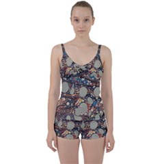 Marbling Tie Front Two Piece Tankini