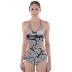 Slate Marble Texture Cut Out One Piece Swimsuit