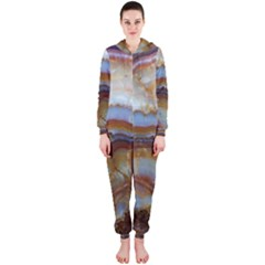Wall Marble Pattern Texture Hooded Jumpsuit (ladies)