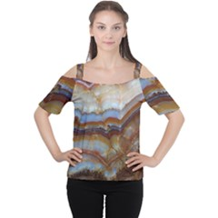 Wall Marble Pattern Texture Cutout Shoulder Tee