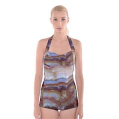 Wall Marble Pattern Texture Boyleg Halter Swimsuit
