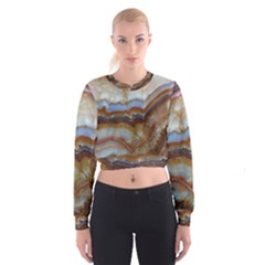Wall Marble Pattern Texture Cropped Sweatshirt