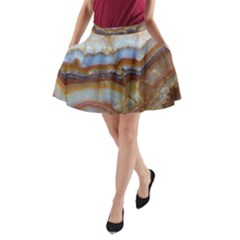 Wall Marble Pattern Texture A Line Pocket Skirt