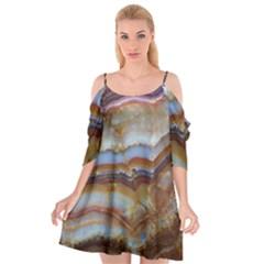 Wall Marble Pattern Texture Cutout Spaghetti Strap Chiffon Dress