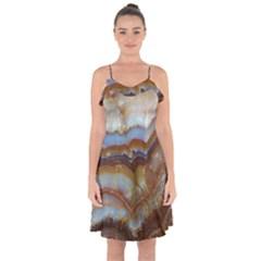Wall Marble Pattern Texture Ruffle Detail Chiffon Dress