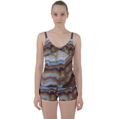 Wall Marble Pattern Texture Tie Front Two Piece Tankini