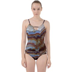 Wall Marble Pattern Texture Cut Out Top Tankini Set