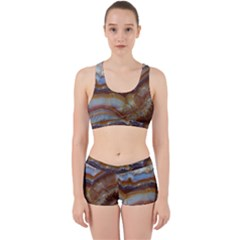Wall Marble Pattern Texture Work It Out Sports Bra Set