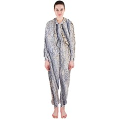 Texture Structure Marble Surface Background Hooded Jumpsuit (ladies)