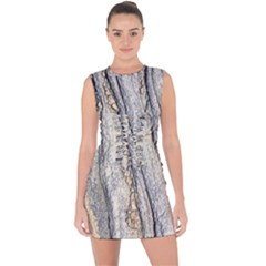 Texture Structure Marble Surface Background Lace Up Front Bodycon Dress