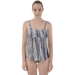 Texture Structure Marble Surface Background Twist Front Tankini Set