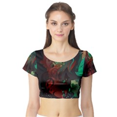 Chrys Stream Wall  Short Sleeve Crop Top (tight Fit)